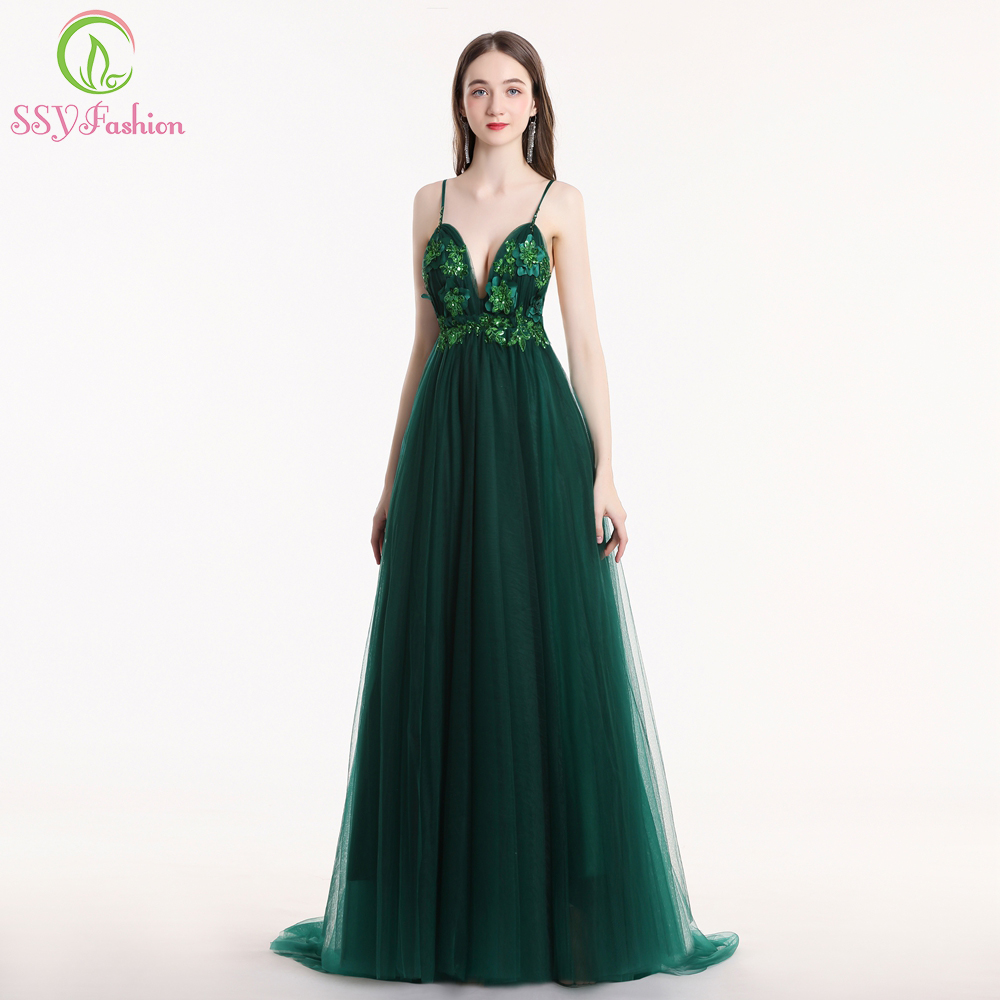SSYFashion New Sexy Green Evening Dress V-neck Sleeveless Backless Sweep Train Lace Flower Formal Prom Gown Robe De Soiree