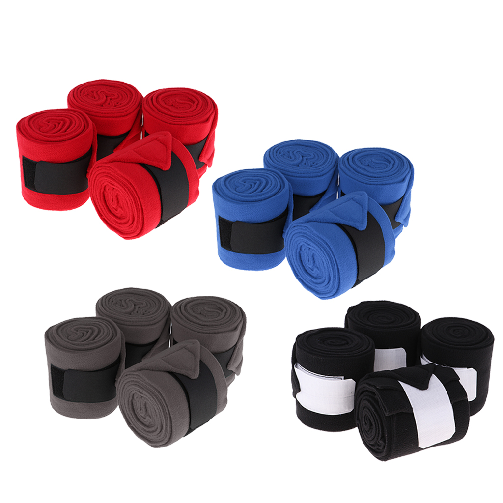4pcs Soft Fleece Equestrian Leg Wraps Bandage For Horse Riding Racing(China)