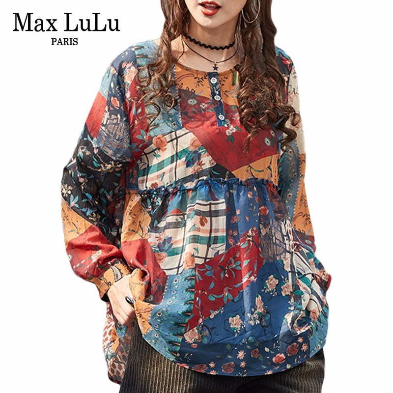 Max LuLu 2019 Fashion Korean Style Ladies Floral Tops And Blouses Women Chiffon Shirts Cotton Gothic Blusas Woman Spring Clothes