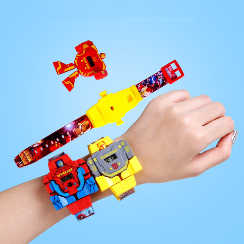 Children's Toy Waterproof Transformation Detachable Bumblebee/Iron Man/SpiderMan Robot Watches Electronics For Kids
