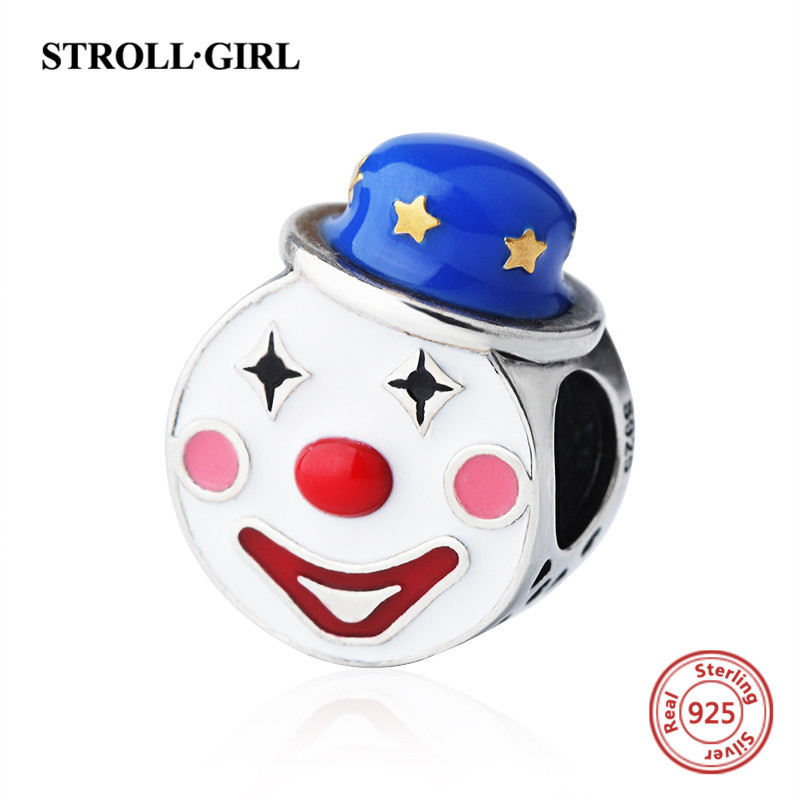 Cute clown charms beads with enamel Fit authentic Pandora Bracelet silver 925 Original Pandora fashion jewelry making for gift in Beads from Jewelry Accessories