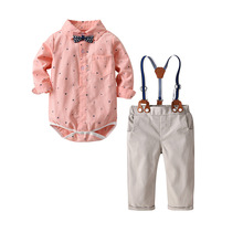 VTOM Toddler Baby Boys Gentleman Clothes Sets Long-Sleeved  Romper+Suspenders Pants 2Pcs Wedding Party Casual Outfits XN88