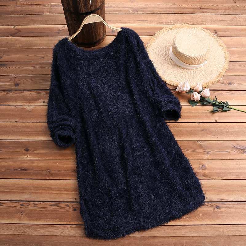 2019 Knitted Fluffy Sweater Women Sexy Off Shoulder Pullover Female Solid Jumper Elegant Long Sleeve Pull Femme Autumn Knitwear
