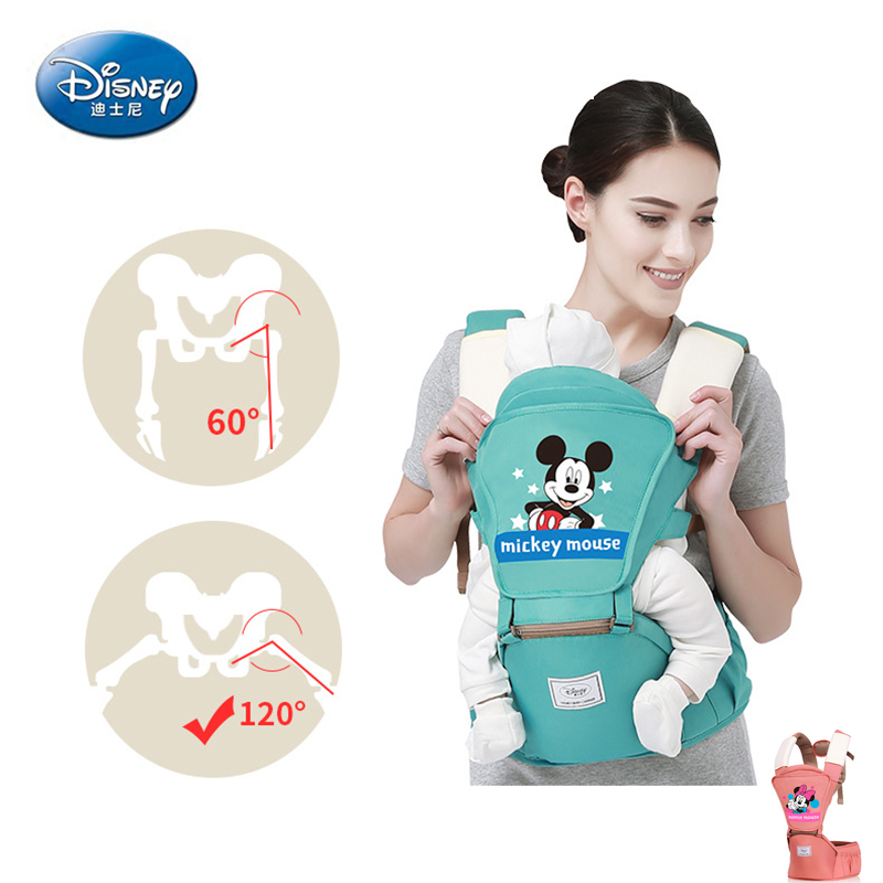 Disney 0-36 Months Breathable Front Facing Cartoon Pink Blue Baby Carrier Infant Comfortable Sling Backpack Pouch Wrap Child