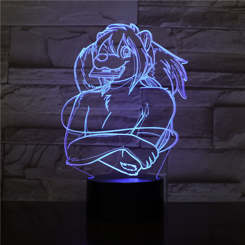 3d Vision Alien 3D Light 7 Colors Star Beast Lion King USB LED Table Lamp Acrylic Party Decor Figures Led Bulb Dropshipping 2412