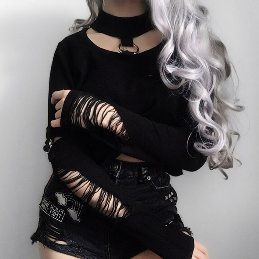 Fashion Long Sleeve Gothic Letter Print Cropped T Shirt 2018 Autumn Black O-neck Streetwear Crop Top Tshirt Tops Convenience Goods Women's Clothing