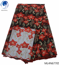 Beautifical lace material mesh fabric embroidery french tulle with flower beads 5 yards per piece ML4N677