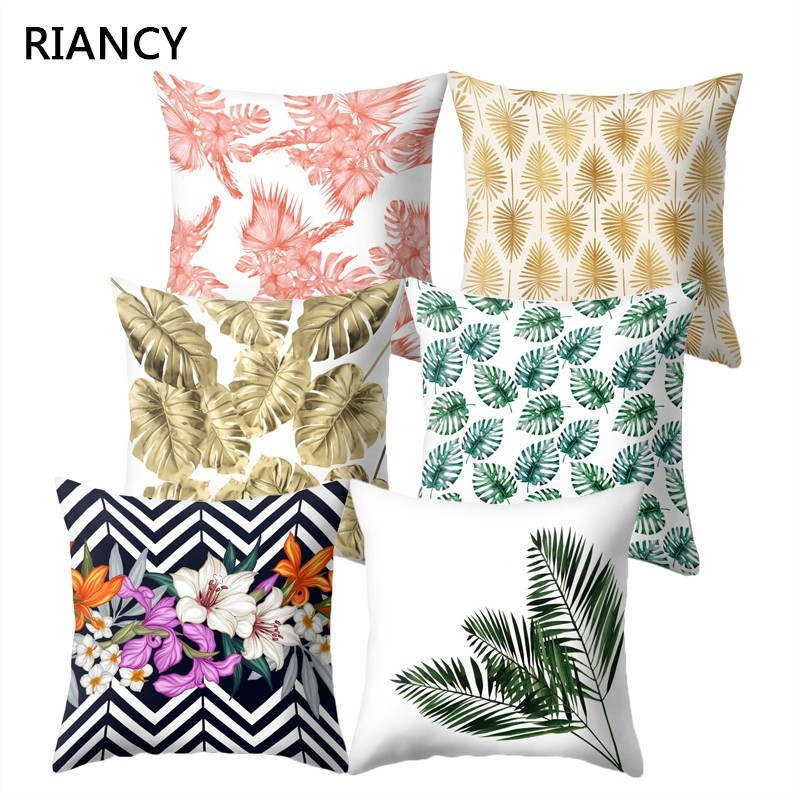 45*45 Nordic Tropical Plam Tree Green Cushion Cover Flower Cushions Decorative For Sofa Car Pink Gold Pillows Flamingo 40575