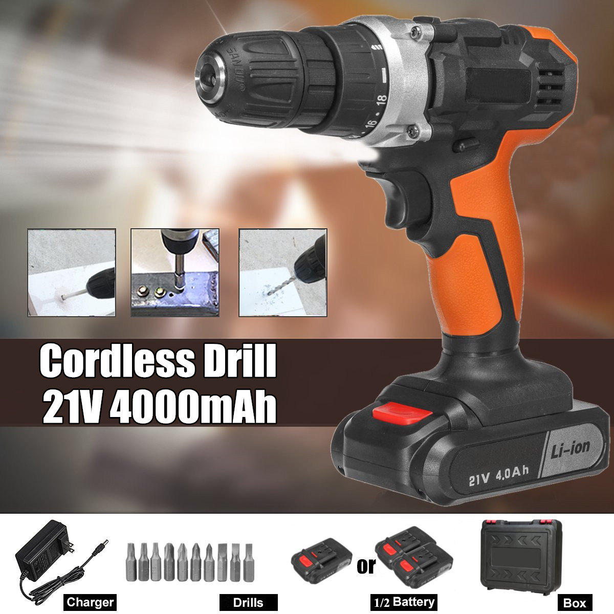 21V Electric Drill Two Speed Lithium Battery Rechargeable Cordless Drill Multi-function Electric Cordless Screwdriver21V Electric Drill Two Speed Lithium Battery Rechargeable Cordless Drill Multi-function Electric Cordless Screwdriver