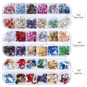 Image 2 - Paleta de lentejuelas para uñas, 12 rejillas, escamas irregulares de aluminio, pigmento de oro, decoración de uñas, láminas de brillo, CH950 1 de papel