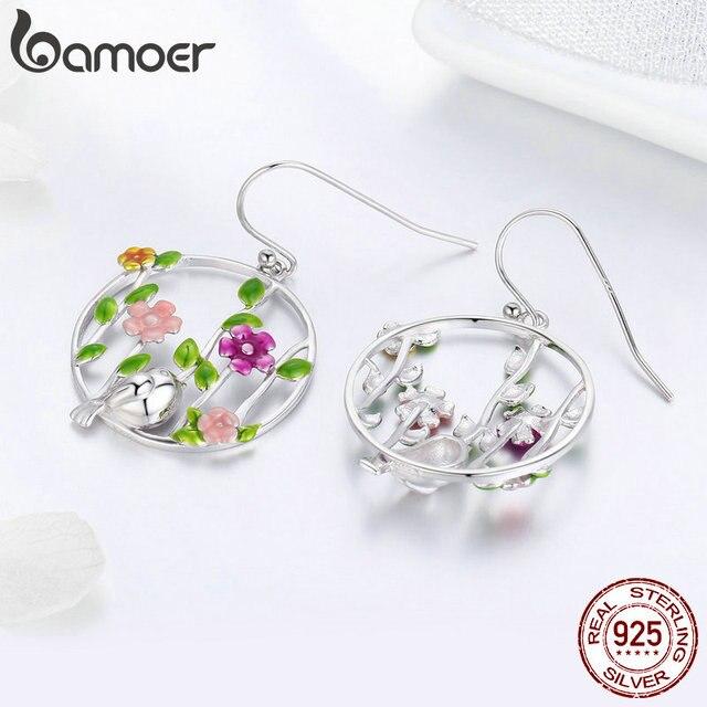 925 Sterling Silver Blooming Forest Birds Secret Drop Earrings 3