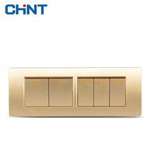 CHINT Switches 118 Type Wall Switch NEW5D Steel Champagne Hyun Golden Four Gang Five Position Two Way Switch Panel chint lighting switches 118 type switch panel new5d steel frame four position six gang two way switch panel