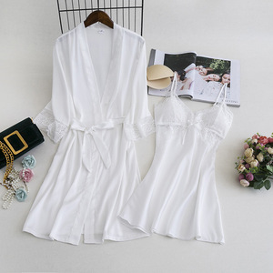 Image 4 - MECHCITIZ Women Robe Gown Sets 2 Piece Nightdress Bathrobe Summer Sleepwear Female Satin Kimono Silk Robes Sleepwear Lounge Suit
