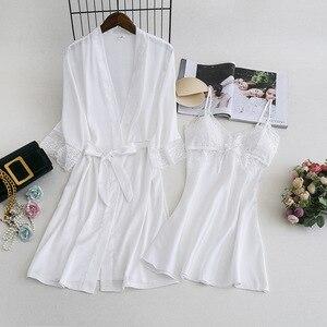 Image 4 - MECHCITIZ damska suknia ustawia 2 sztuka koszula nocna szlafrok lato bielizna nocna kobiet satynowe Kimono jedwabne szaty piżamy salon garnitur