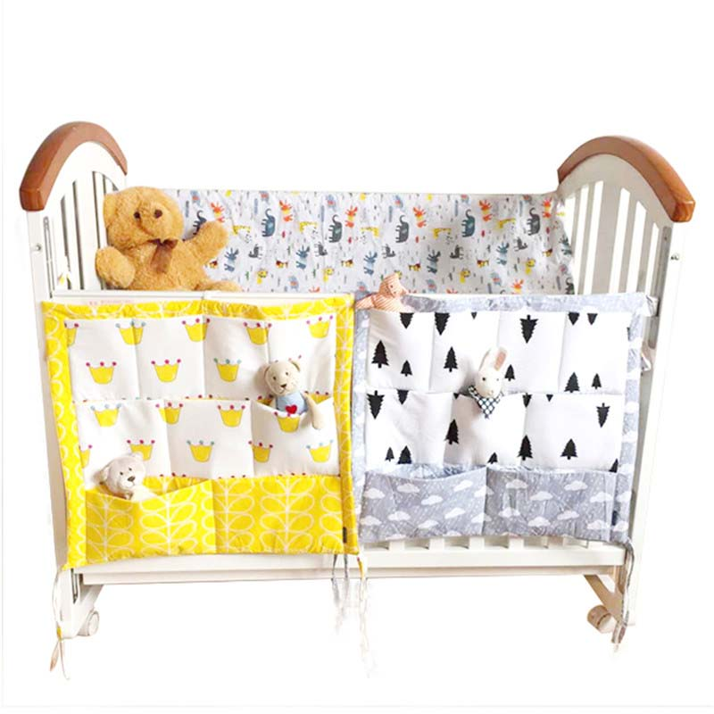 55*60CM Baby Crib Bedding Set Cartoon Bumper Cradle Hanging Storage Bag Multi-Function Baby Nursery Organizer Toy Diaper Pocket