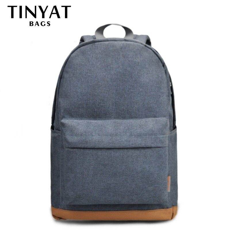 TINYAT hombres 15 pulgadas portátil mochilas para computadora hombre mochilas de ocio para Adolescente de hombro Mochila gris