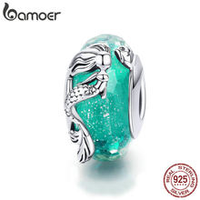 BAMOER Glass Beads 925 Sterling Silver Mermaid Sea Blue Murao Handmade Charm fit for Necklace Women Jewelry High Quality SCC1154(China)