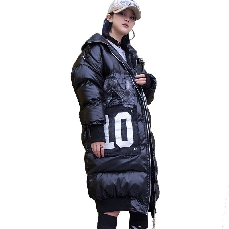 Vers Outwear Capuchon Bas Streetwear Surdimensionné Épais Manteau Nouveau De À Black 2018 Parka Veste Hiver Mode Marée Chaud Femmes Le 063 Automne HwtnSqAz