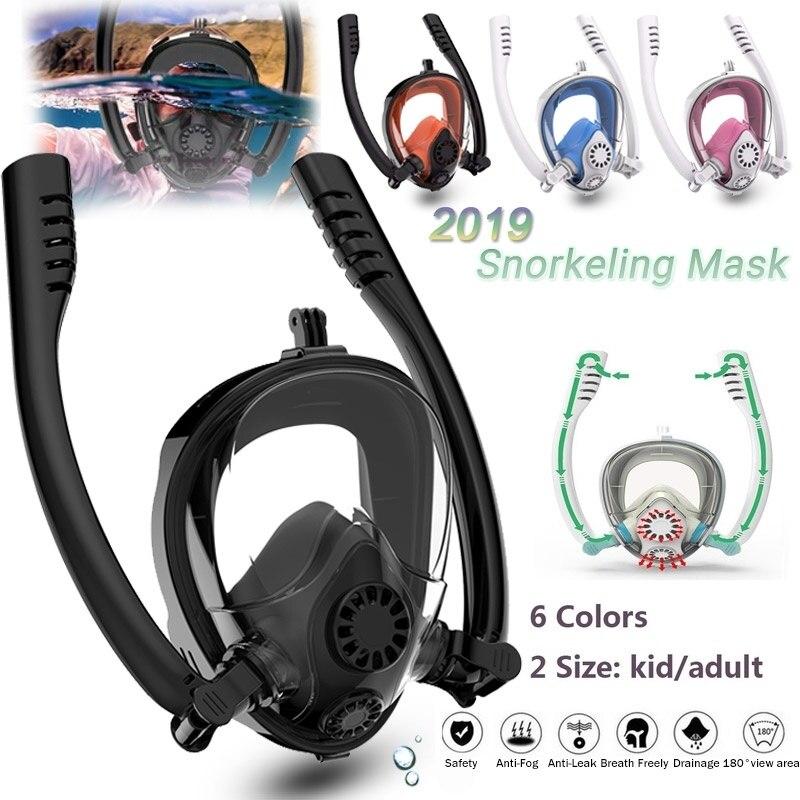 PC Silicone Double tube masque de plongée masque de plongée sous-marine Anti brouillard visage complet masque de plongée en apnée femmes hommes natation tuba plongée