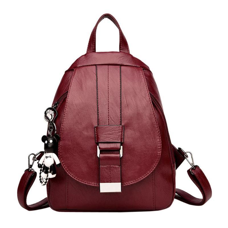Women Girls PU Backpacks Small Travel Rucksack Zipper Shoulder Casual School Bag