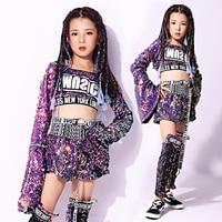 Children Jazz Dance Costumes Sequins Street Dance For Girls Jacket Kids Modern HipHop Performance Suit 110 160cm height