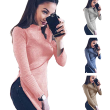Trendy Women Long Sleeve Knitted High Split Sweaters Pullovers High Collar Tops