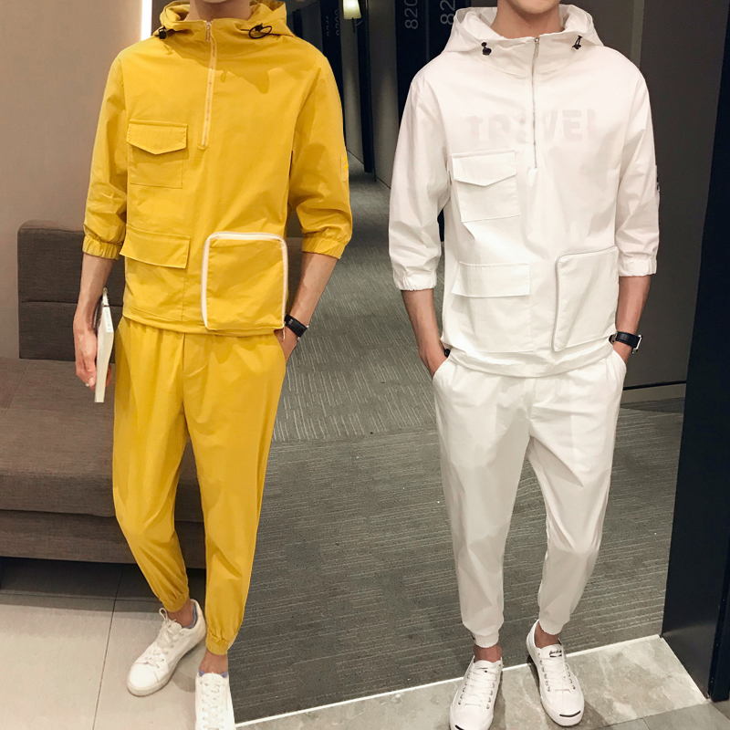 Jacket+Pant 2 Pcs Set Mens Clothing Summer Chinese Style Solid Color Erkek Giyim Fashion Streetwear Ropa De Hombre  Set Men-in Men's Sets from Men's Clothing    1