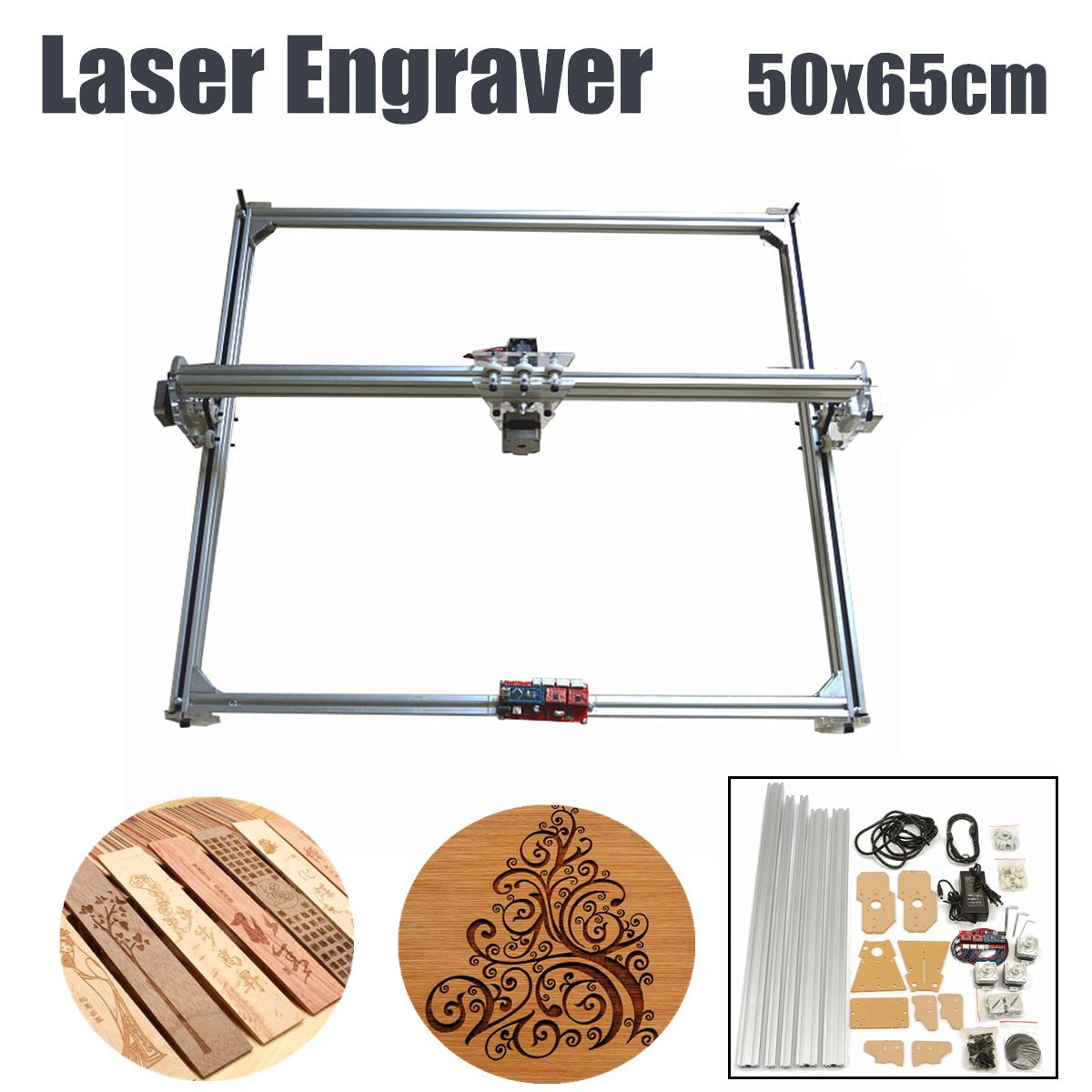 1Set 65x50cm 100mw-5500mw DIY Desktop Mini Laser Cutting/Engraving Engraver Machine DC 12V Wood Cutter/Printer/Power Adjustable