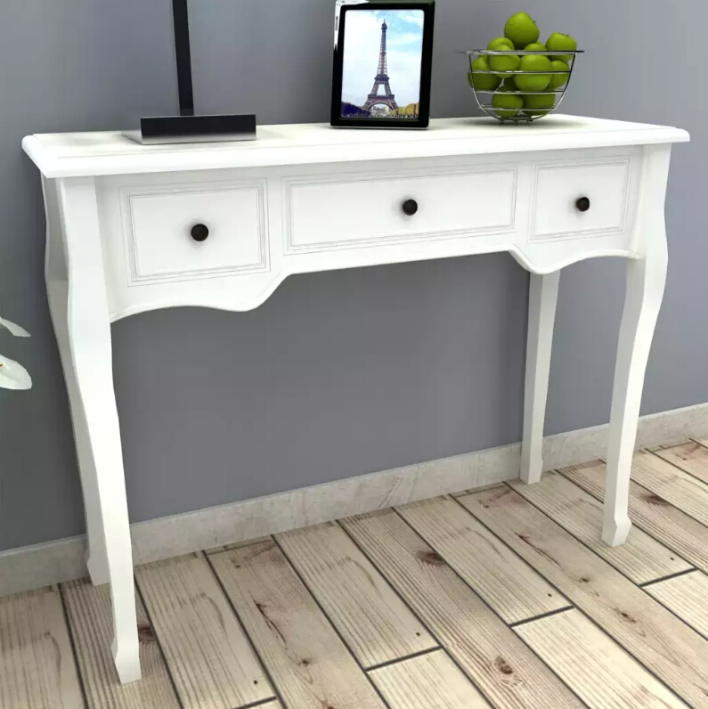 VidaXL Dressing Table Console Table With 3 Drawers White Solid Wood Modern Multifunctional Furniture Living Room Console Table