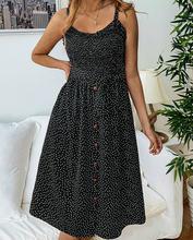 Платье женское длинное в горошек шифоновый Повседневный пляжный