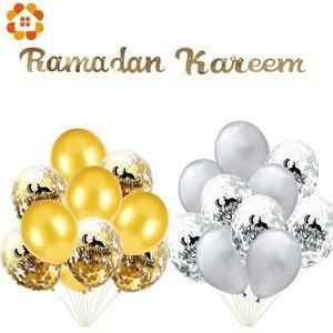 Image 5 - Juego de globos EID MUBARAK de helio dorado y plateado, globo de confeti para Bola de aire de EID musulmán, suministros de decoración para fiesta del Festival de Ramadán