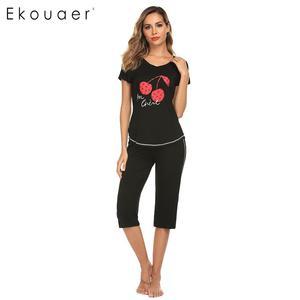Image 3 - Ekouaer 女性ナイトウェアパジャマセット O ネック半袖プリントトップハーフパンツ夏パジャマスーツ女性ホームウェアの服
