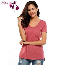 ACEVOG XL 2XL Size Korean Women's Clothing Fashion Big Size T-shirt Female V neck Short Sleeve Casual obesity Tee Shirt Top(China)