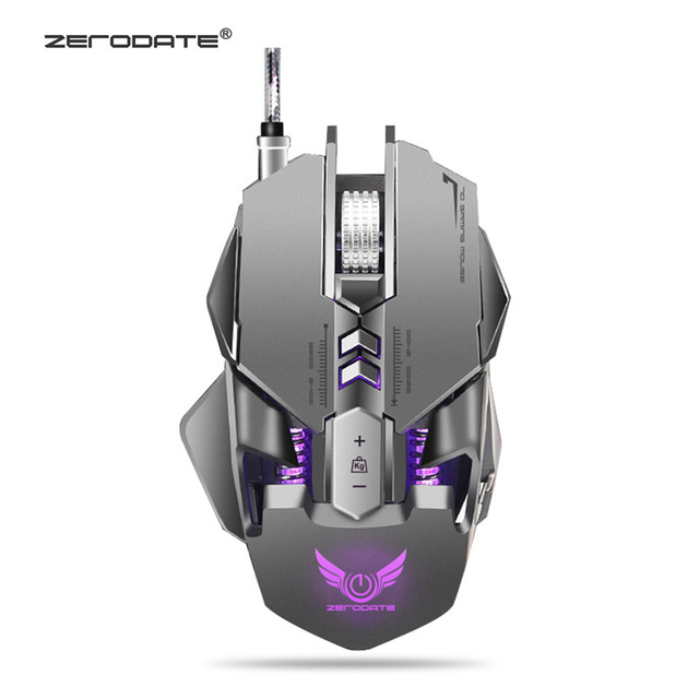 цена на ZERODATE X300GY 7 Keys 250-4000DPI USB Wired Optical Mouse Mechanical Macros Define Game Mouse Gamer For PC Computer Laptop
