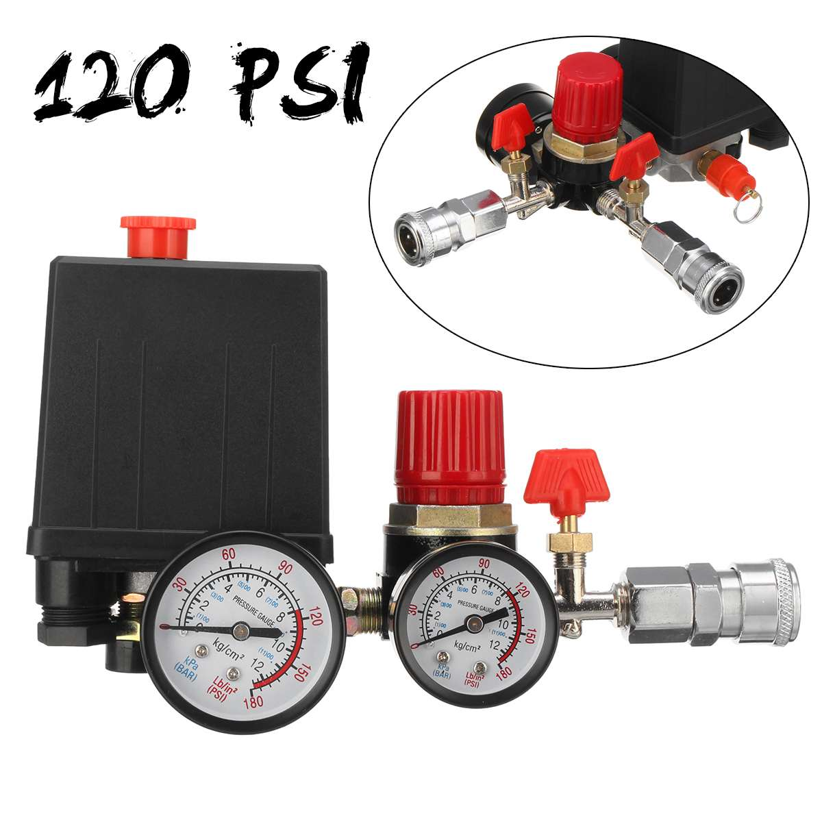 240V AC Regulator Air Compressor Pump Pressure Control Switch Valve Manifold Relief Regulator Gauge With Quick Connector