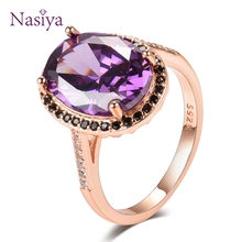 Nasiya Rose Gold Luxury Created Amethyst Gemstone Rings For Women Real 925 Sterling Silver Jewelry Ring Wedding Party Gift недорого