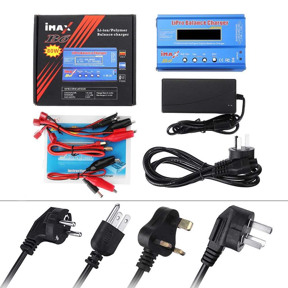Original SKYRC IMAX B6 60W 6A cargador de equilibrio descargador US/UE/UK/AU con fuente de alimentación para LiPo Li-ion LiFe Nimh Nicd batería - 6