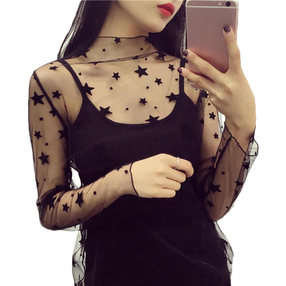 Sexy malla Sheer Lace camisetas Perspectiva de manga larga de cuello alto de malla Tops rayas lunares estrellas camisas de fiesta