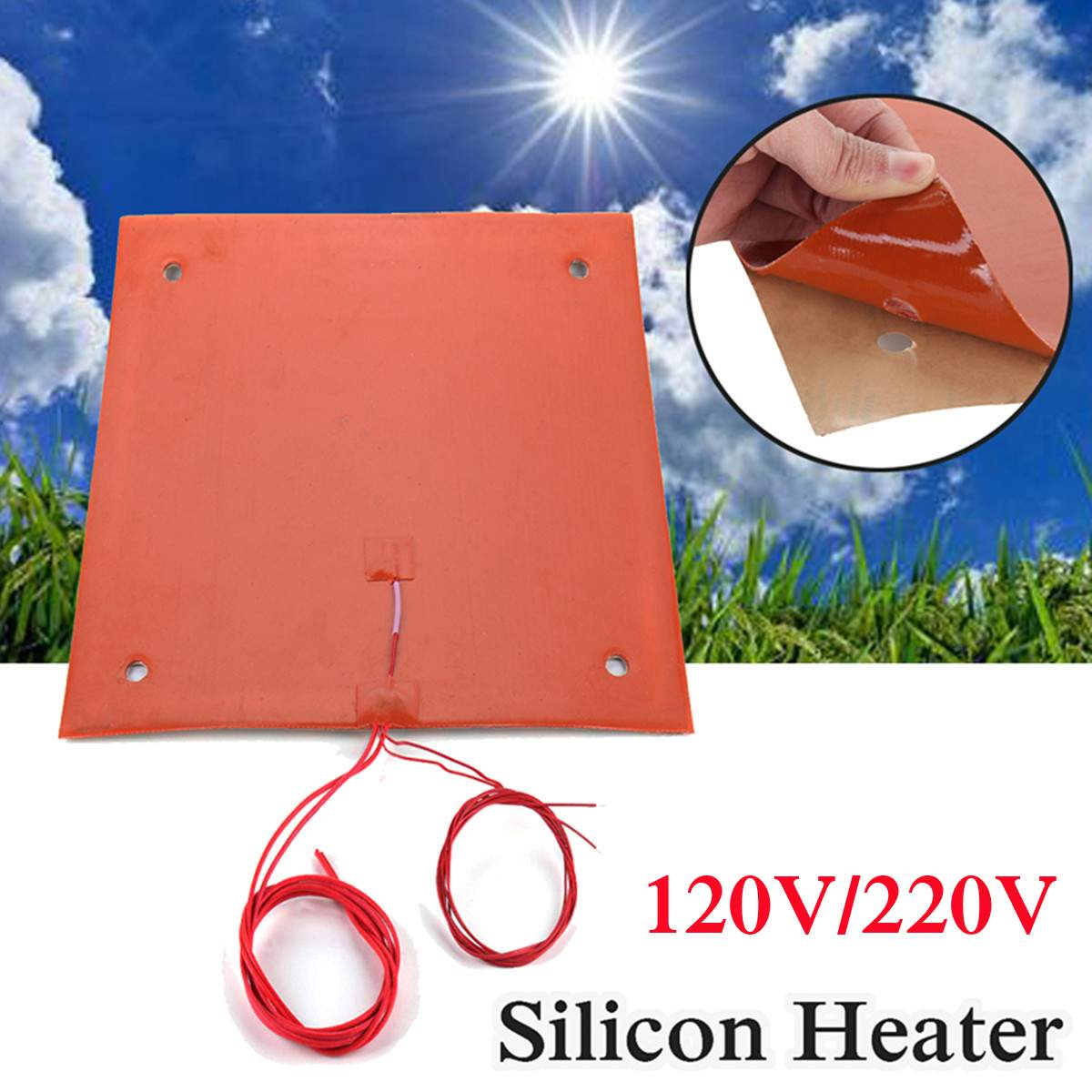 750w 120v/220v Flexible Waterproof Silicone Heated Bed Heating Heater Pad for CR-10 3D Printer Bed Holes 310*310mm750w 120v/220v Flexible Waterproof Silicone Heated Bed Heating Heater Pad for CR-10 3D Printer Bed Holes 310*310mm