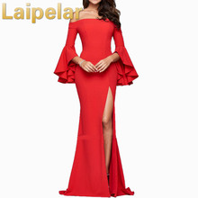 Laipelar Celebrity Evening Party Dress 2019 New Women Sexy Bodycon Off Shoulder Flare Sleeve Club Maxi Vestido