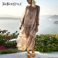 TWOTWINSTYLE Ruffle Casual Dress Women Long Sleeve Midi Dresses Female with Spaghetti Strap Dress Spring Summer Holiday Beach
