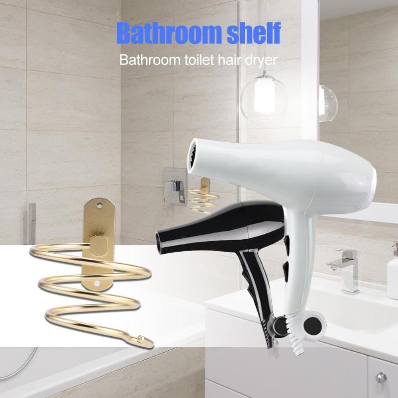 Innovador secador de pelo montado en la pared estante de baño de acero inoxidable soporte de almacenamiento secador de pelo para secador de pelo