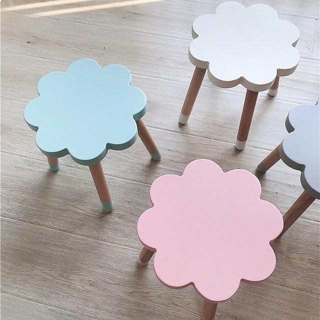Nordic Style Flower Shape Baby Chair Kids Room Furniture Wooden Stools  Modern Home Decor Nursery Decor Childrenu0027s Birthday Gift