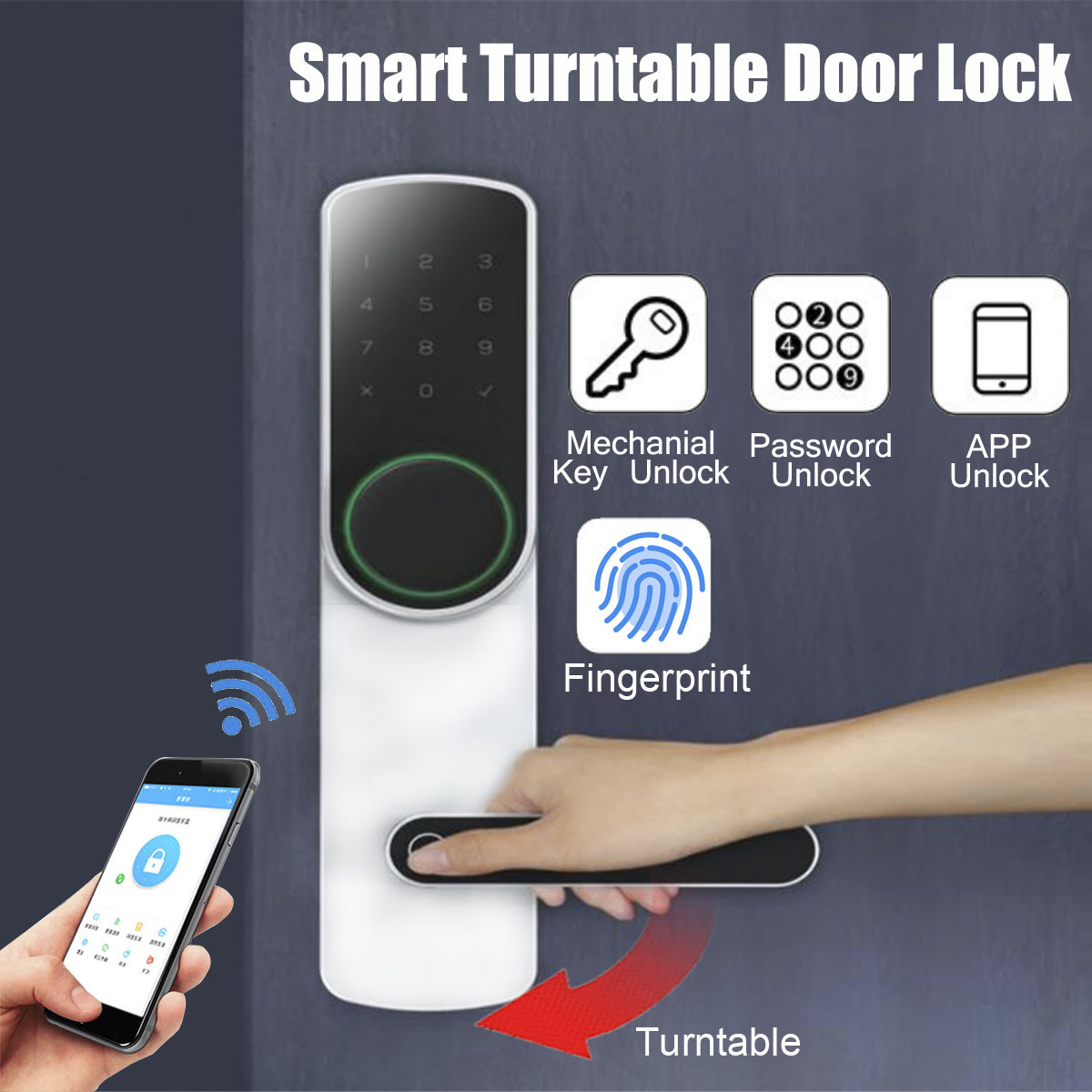 Find The Best Offer Smart Turntable Door Lock Fingerprint Password Intelligent Electronic Keyless Security Wifi Bluetooth