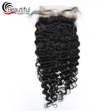 Beautiful Queen 10A Indian Human Hair 6x6 Lace Closure Deep Wave Free Part Lace Virgin Hair 130% Density Swiss Lace For Women(China)