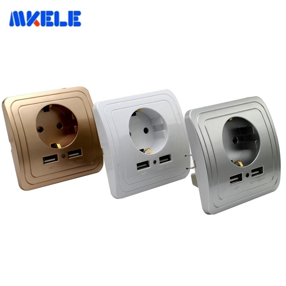 Smart Home EU Standard Power Wall Socket 3 Colors Panel With 2000mA Dual USB Charger Port For Mobile Super Power