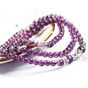Image 4 - 6mm 108 Beads Purple Natural Crystal Bracelet Brazil Prayer Beads Multi layer Rosary Mala Bracelets