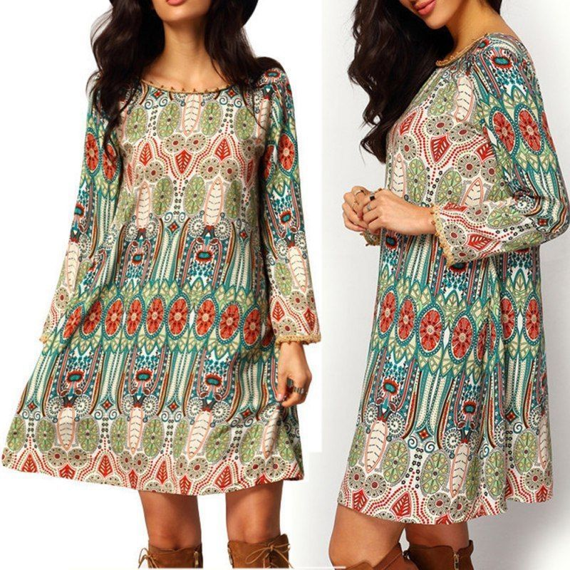 Frauen Damen Sommer Boho Chiffon Kleid Partei Langen Ärmeln Floral Lose Kleid Strand Tragen Sommerkleid