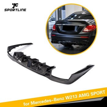 For Mercedes-Benz E250 E350 E400 E43 AMG E63 AMG Rear Bumper Lip Spoiler Carbon Fiber Diffuser