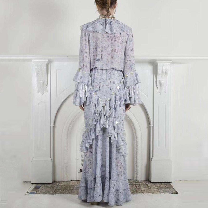 Female Spring Fashion V Neck Patchwork Sequins Tassel Maxi Dress Women Flare Sleeve Ruffle Party Dress in Dresses from Women 39 s Clothing